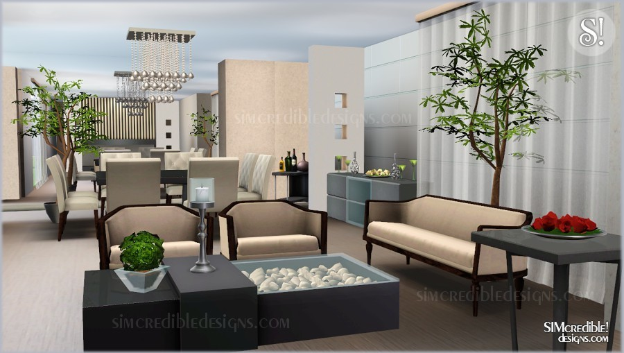 My sims 3 blog film noir living dining set by simcredible for Sims 3 living room ideas