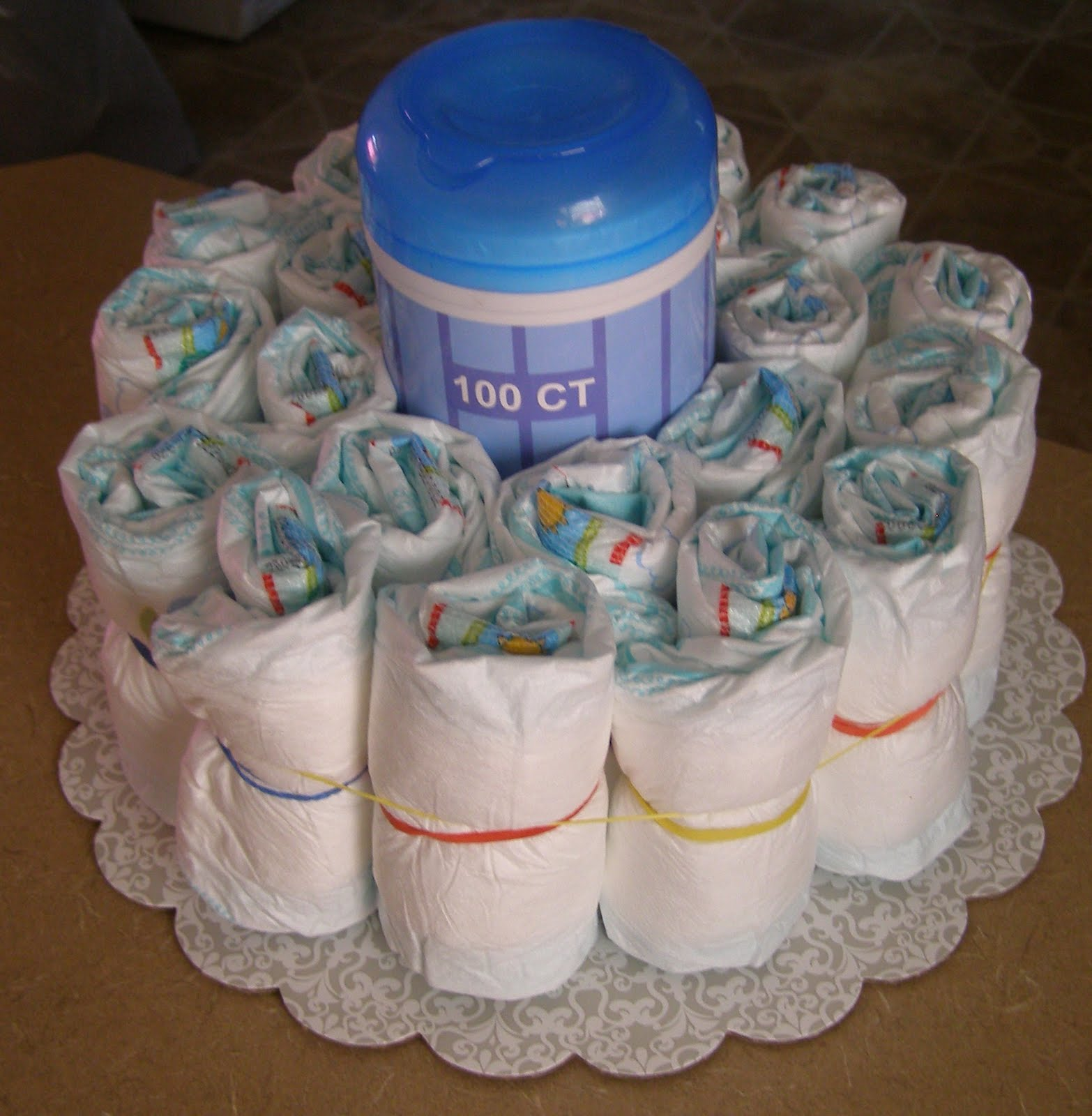 Second, place a large rubber band around the tall package of wipes and ...