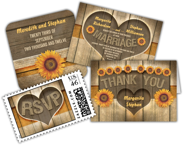 Wood and Sunflowers Heart Rustic Wedding Invitation