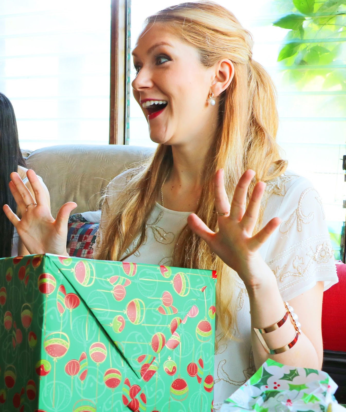 The happiness of opening Christmas presents!