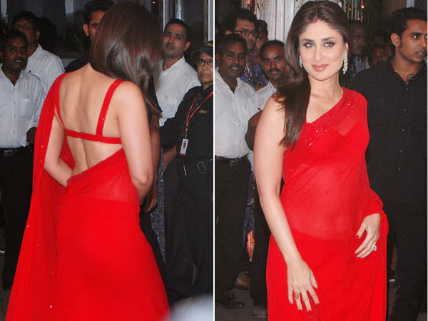 Kareena Kapoor in Scarlet Sari Hot Pics
