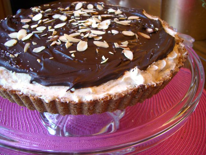 Chocolate + Chard: HONEY ALMOND BUTTER TART with CHOCOLATE GANACHE