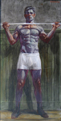 Standing+Man+with+Barbell-oil+on+canvas+