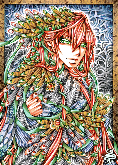 07-Bright-Feathers-Sandra-Filipova-DarkSena-Manga-Black-and-White-and-Colour-Detailed-Drawings-www-designstack-co
