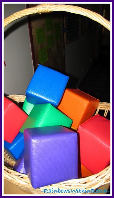 photo of: Basket to Organize Materials in Preschool (Organizational RoundUP via RainbowsWIthinReach)