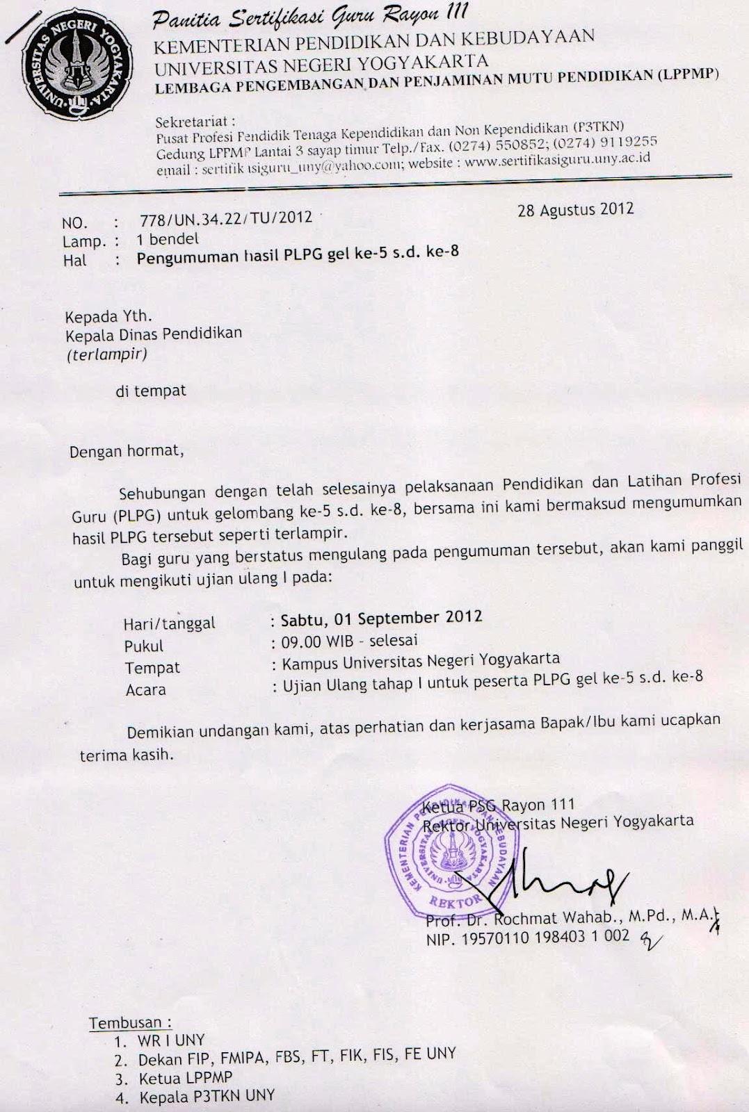 PLPG Gelombang ke-5 s.d. ke-8. Rayon UNY Yokjalarta sebagai berikut ...