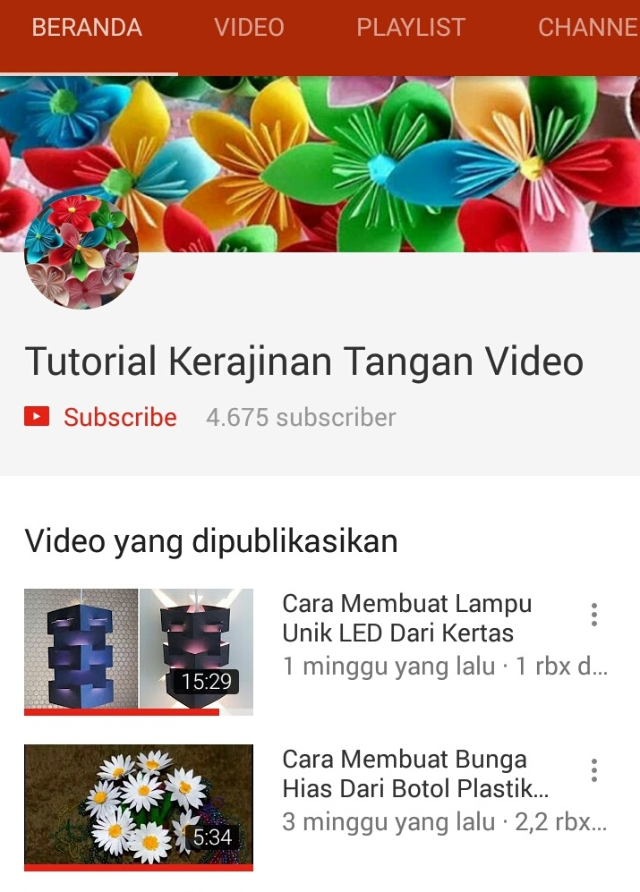 Tutorial Kerajinan Tangan Video