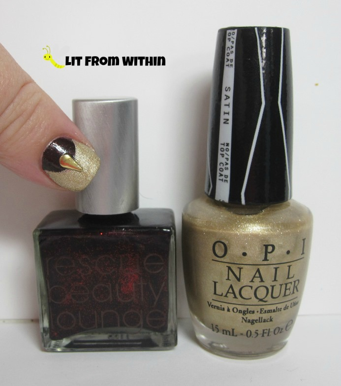 Bottle shot:  Rescue Beauty Lounge Black Russian, OPI Love.Music.Angel.Baby