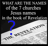 graphic (c) Erika Grey What are the names of the seven churches in the book of Revelation, which is titled over an open page in the Bible open to the book of Revelation