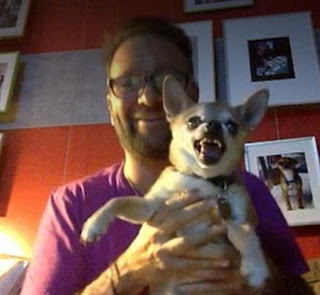 Daniel Negreanu Streaming on Twitch from his House - Here seen with his dog