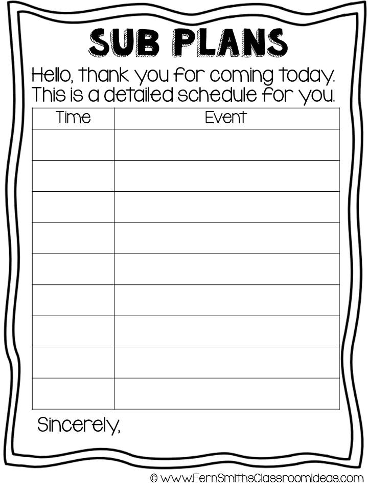 Fern Smith's FREE Year Round Sub Plan Printable at Classroom Freebies