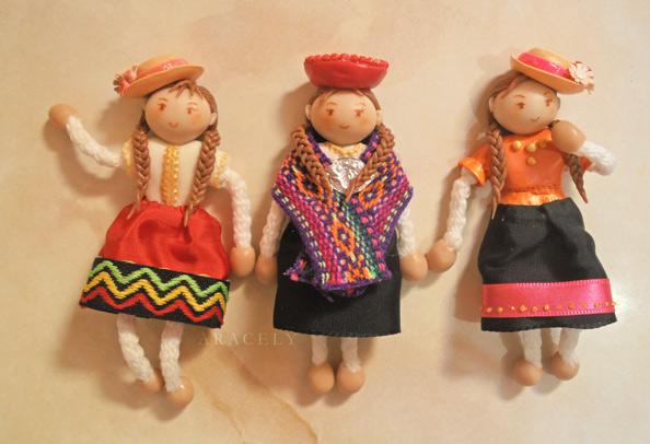 Mu�ecas cholitas de porcelana al frio, imanes