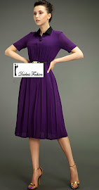 Black Collar Chiffon Flare Purple Dress