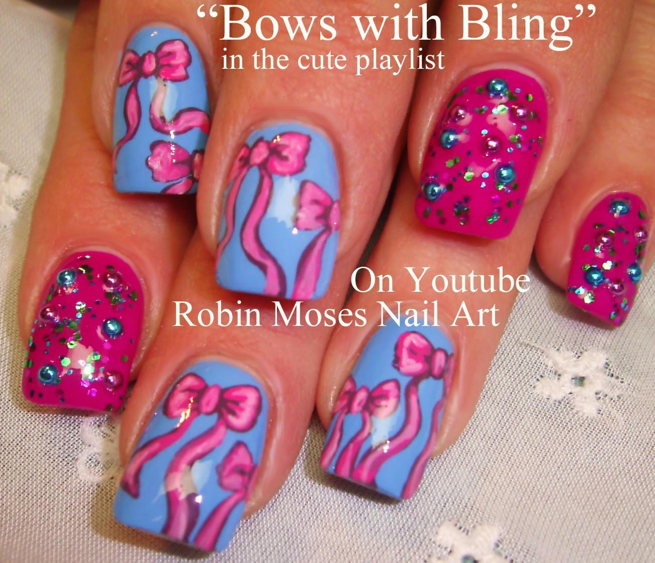 Nail Art By Robin Moses Bow Nail Art Bows And Bling Bling Nail