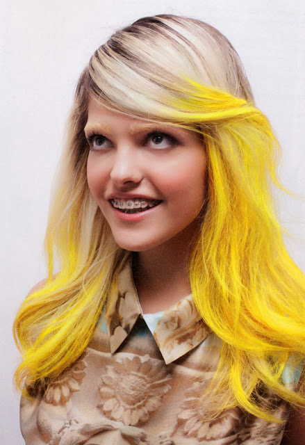 yellow hair, yellow paint,