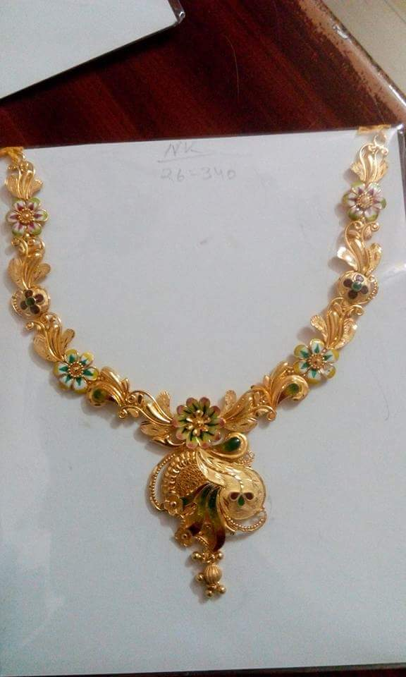 nakshi jewelry model flat peacock jewellery tag pacchi latest gold designs necklace set diamond