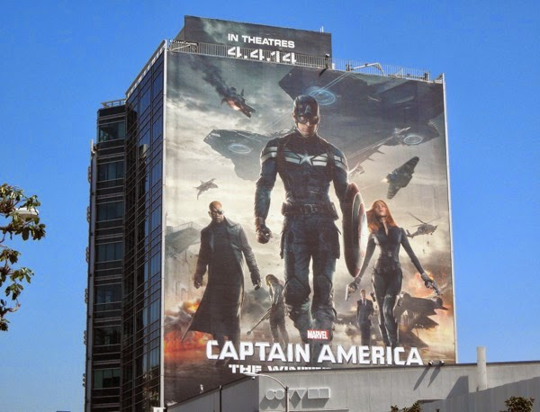 Giant Captain America Winter Soldier billboard Sunset Strip
