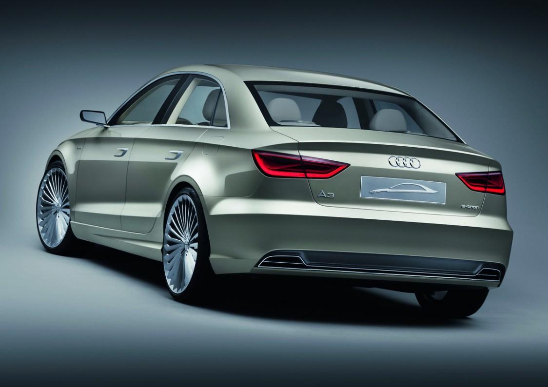 audi a3 e tron sedan concept shown shanghai auto show video electric vehicle news. Black Bedroom Furniture Sets. Home Design Ideas