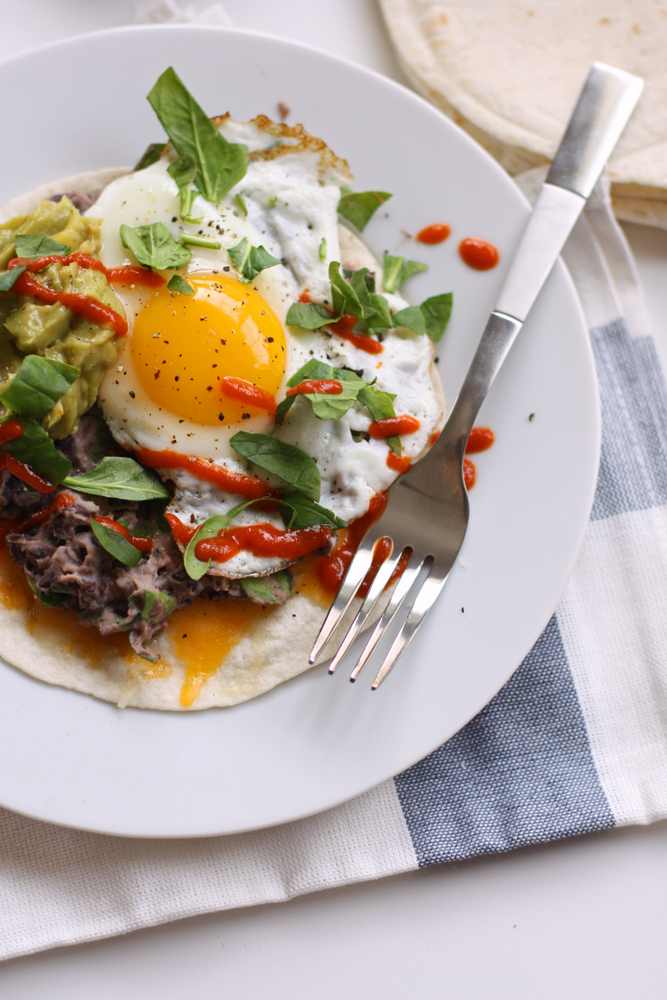 Black Bean and Fried Egg Tostadas. A super simple dinner that's ready in about 10 minutes!