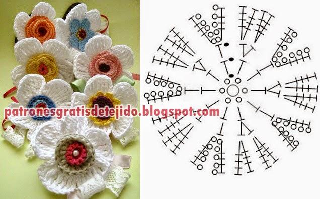 Flores con pétalos blancos y centros en dos colores