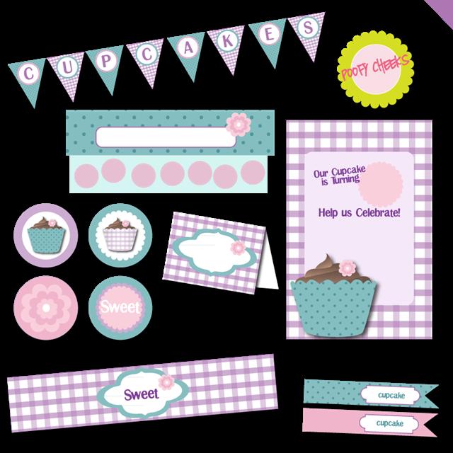 δωρεαν εκτυπώσιμο σετ με θέμα cupcake