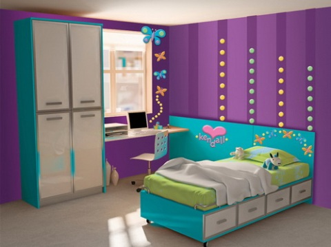 ideas for girls bedroom decoration with purple ideas for