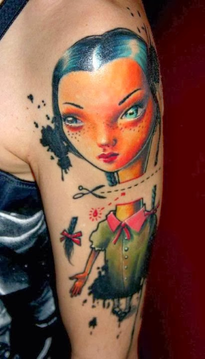 Realistic cartoon tattoo, by Csaba Mullner