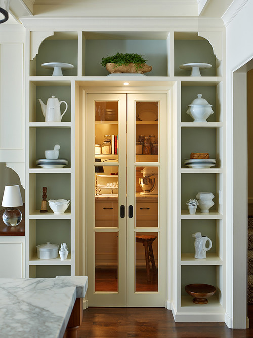 Decorated Mantel Add Character With Unique Pantry Doors