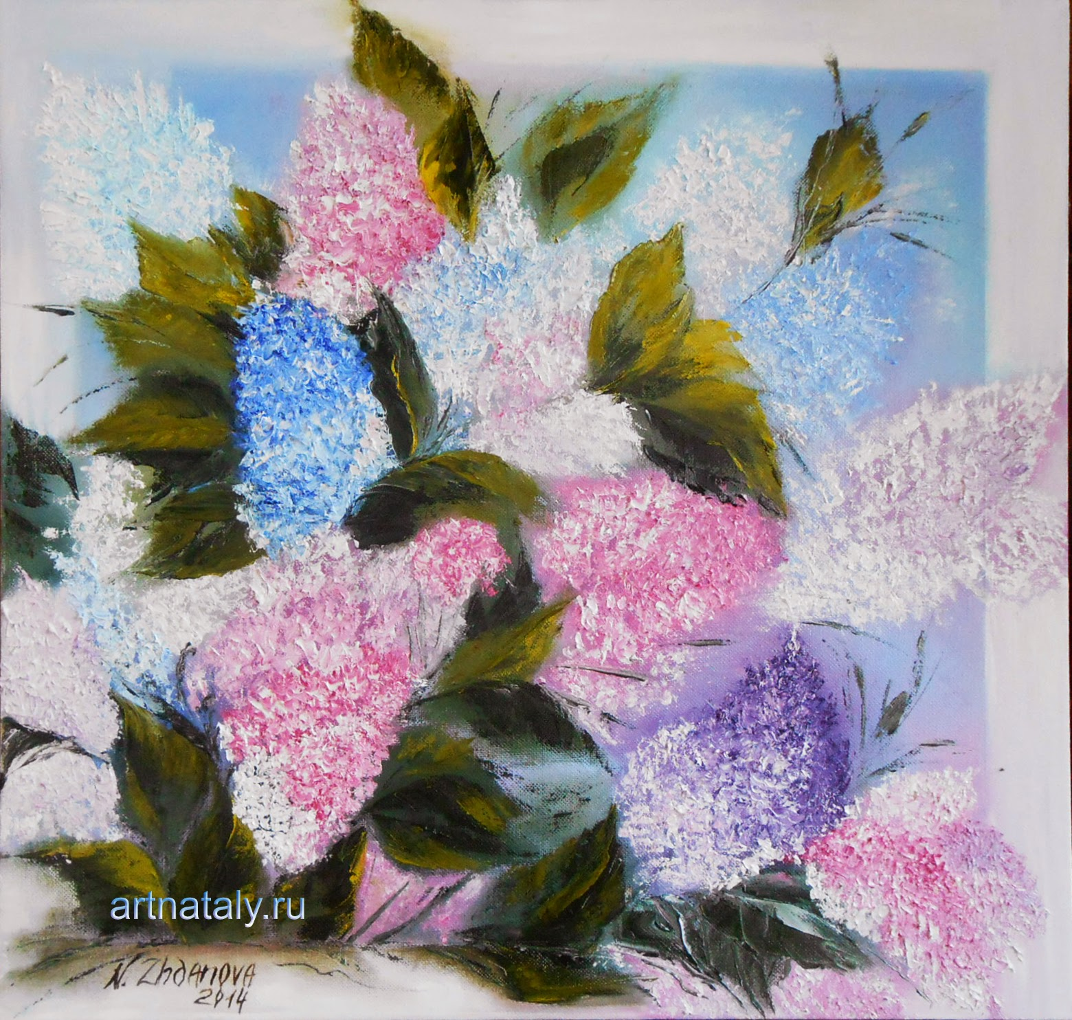 Original Modern oil Painting Flowers palette knife on canvas. Russian Flowers painting, the Flowers Lilac in the style of Impressionism