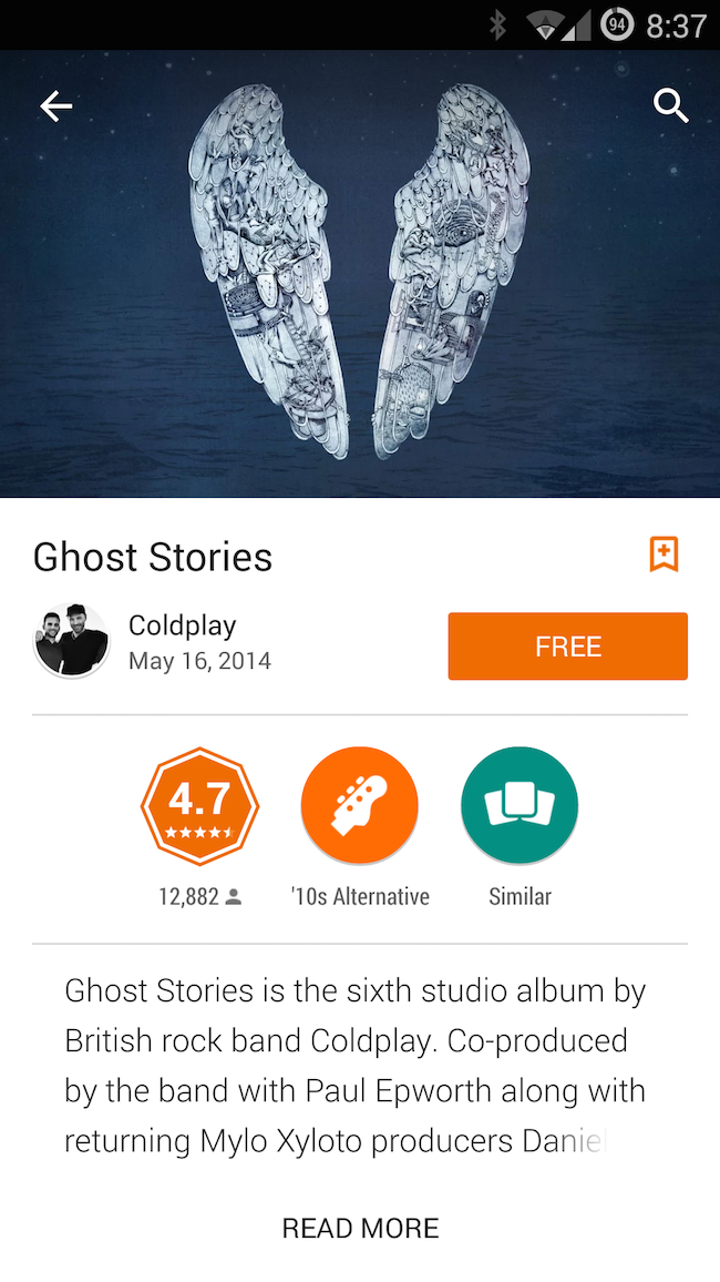Google Play Giving Coldplay's Latest Album Ghost Stories For Free