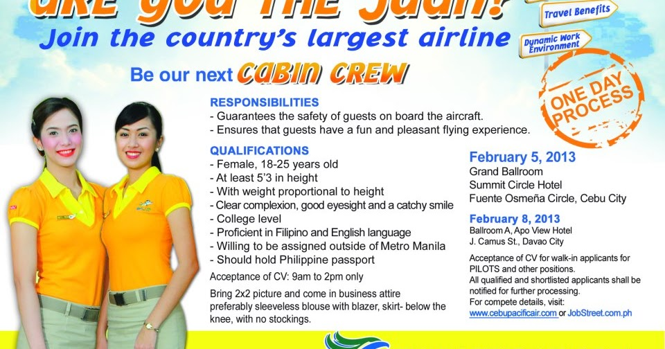 Fly gosh cabin crew open day cebu pacific for Cabin crew recruitment agency philippines