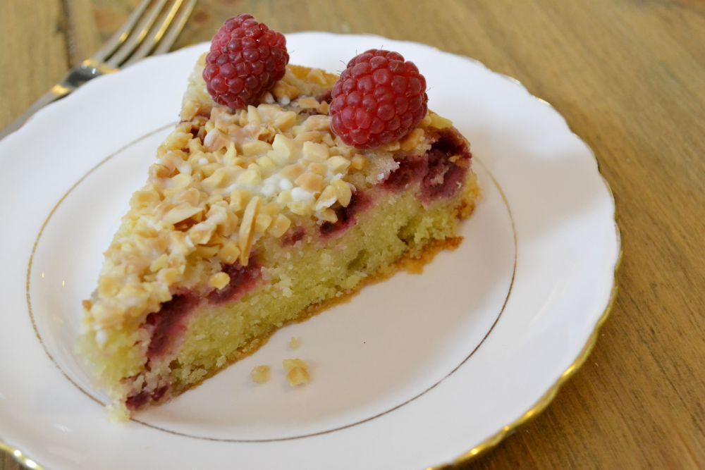 raspberry bakewell tart cake cafe des fleurs dollar scotland