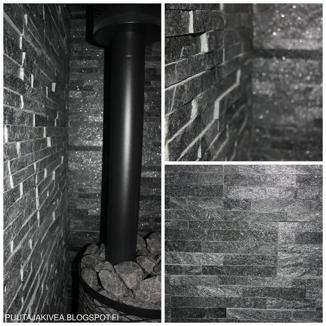 Black Quartzite -verhoilukivi on kimalteleva palosuoja saunaan