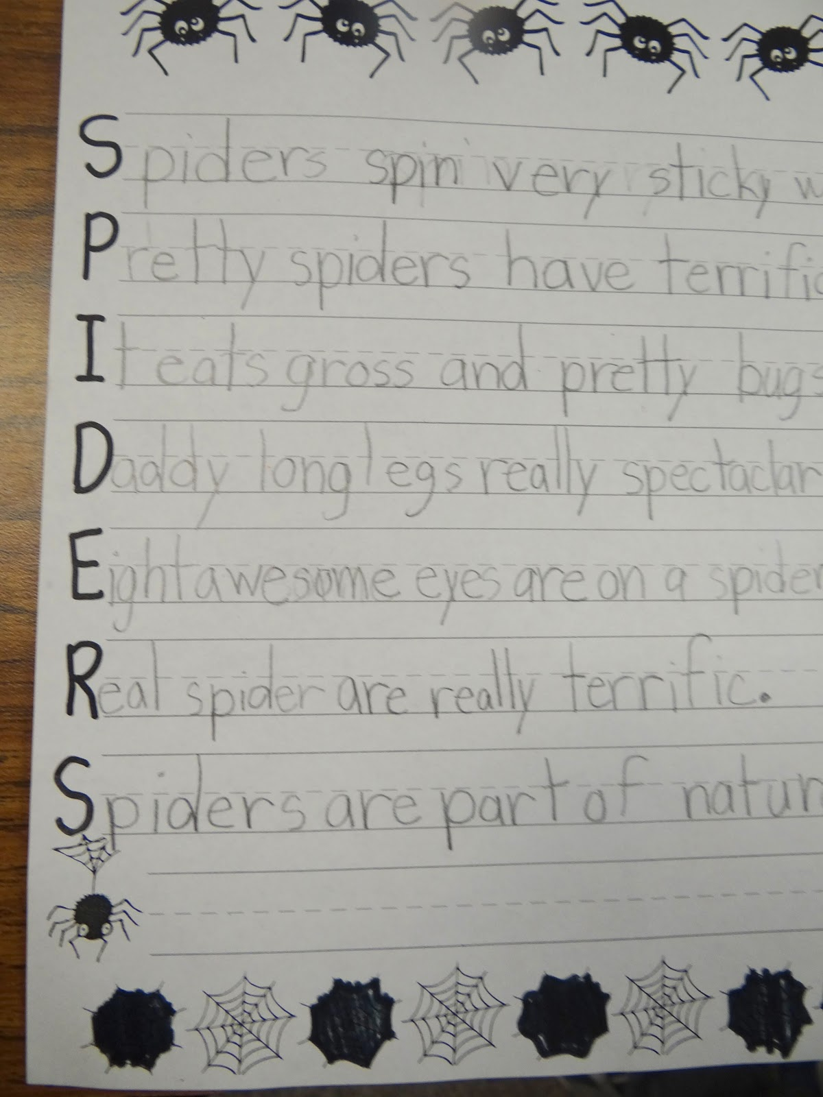 patties classroom spider art and spider acrostic poems