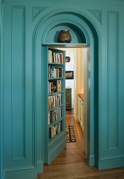 ...a Hidden Door Behind One Of The Bookshelves That Leads Into My Husbands  Closet...our Master Bedroom Closets Will Border The Library On One  Side...so It ...