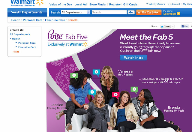 Poise Fab Five Webpage on Walmart Website