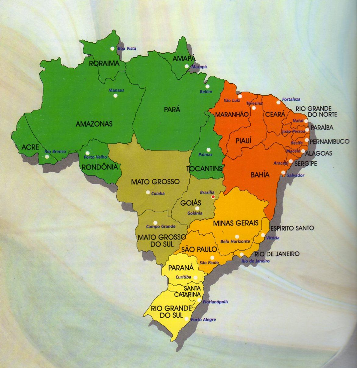 Mapa Politico De Brasil Con Ciudades