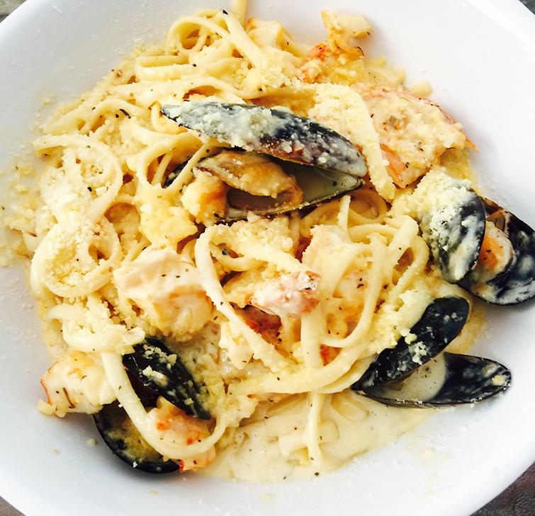 Divi Carina Bay seafood pasta