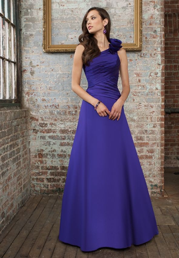 beautiful purple Satin One-Shoulder A-Line Long Bridesmaid Dress