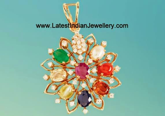Navaratna diamond Pendant in golg