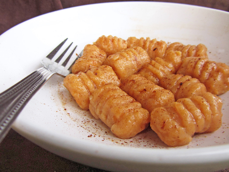 sweet potato gnocchi with cinnamon brown butter sauce