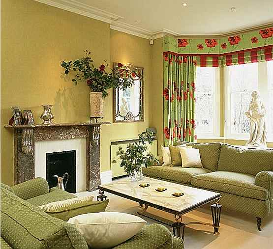 Living Room Design Green Living Room With Combination Colors