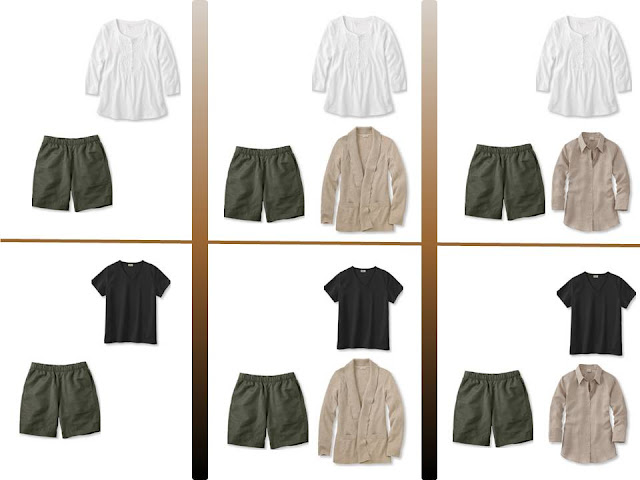 """six outfits with olive shorts and """"Whatever's Clean"""" for summer"""