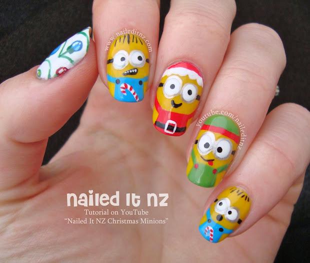 christmas minions nail art inspired