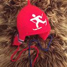 rød skiløper flagg + klaffer - medium og large