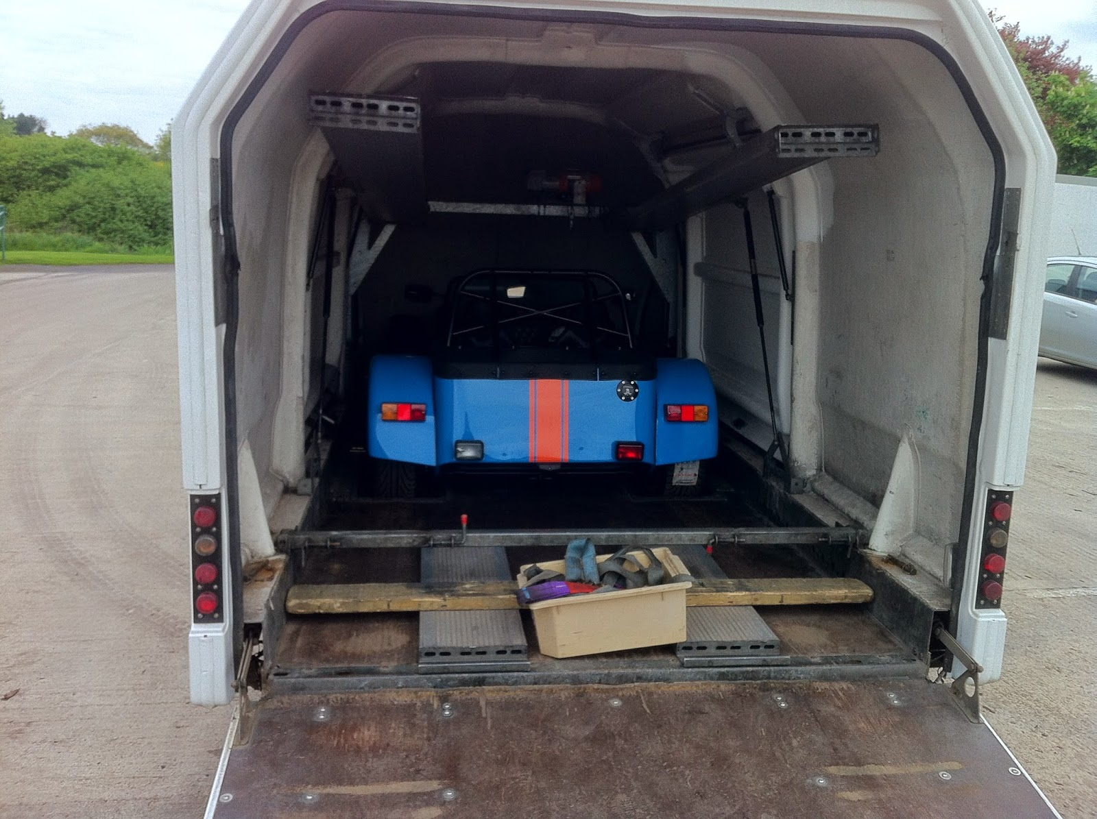 The R500 loaded into a covered car transporter ready to be taken to Nottingham VOSA test centre