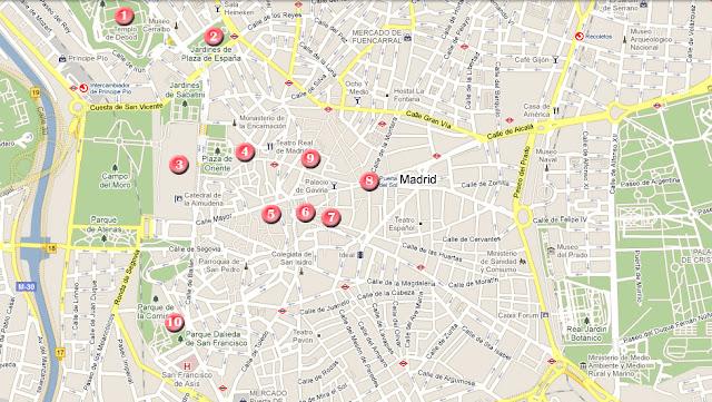 Mapa de la ruta por Madrid, dia 1