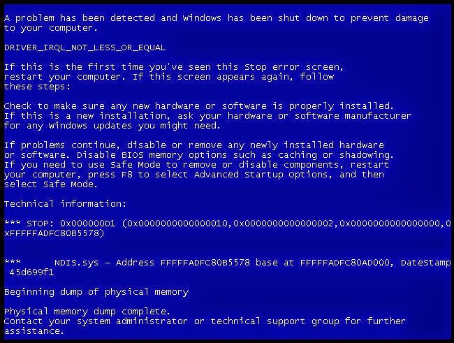Tampilan BSOD Windows 7