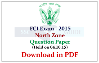 FCI Exam 2015 –Questions Paper Held on 04th October 2015