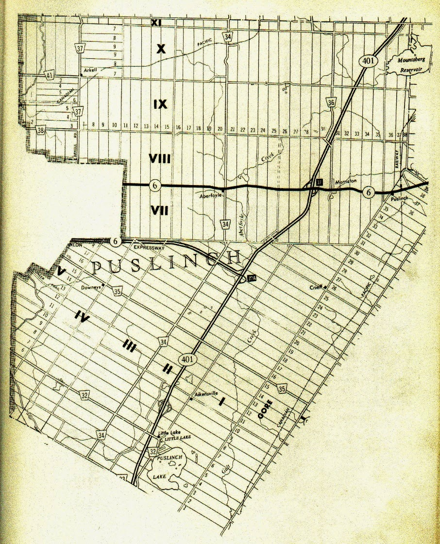Climbing My Family Tree: Map of Puslinch Twp, Wellington County, Ontario original concessions and lots,